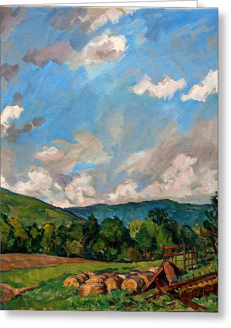 Thor Paintings Greeting Cards -  Summer Farm Berkshires Greeting Card by Thor Wickstrom