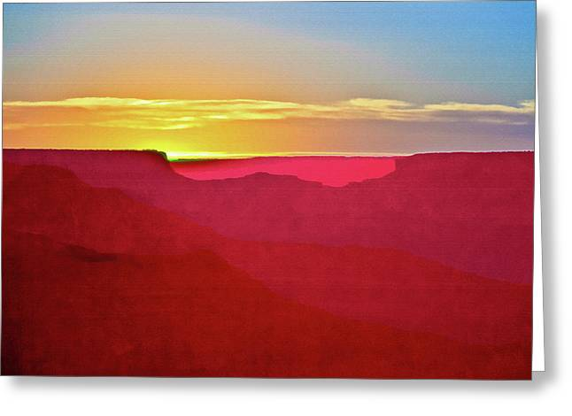 Sunset At Grand Canyon Desert View Greeting Card by Bob and Nadine Johnston
