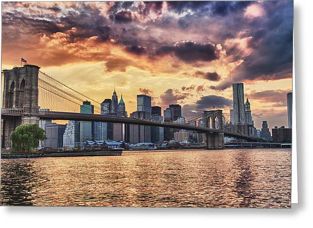 Blackrussianstudio Greeting Cards -  Sunset Over the Brooklyn Bridge Greeting Card by Val Black Russian Tourchin