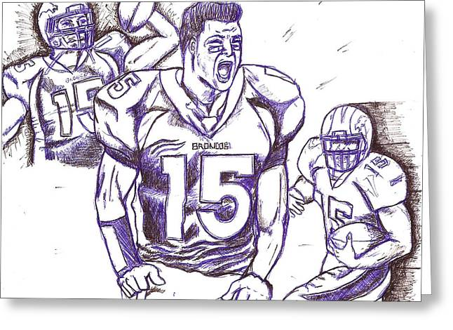 Tebow Time Let's go  Greeting Card by HPrince De Artist
