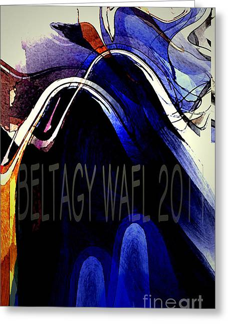 The Blue Wave Greeting Card by Beltagy Beltagyb