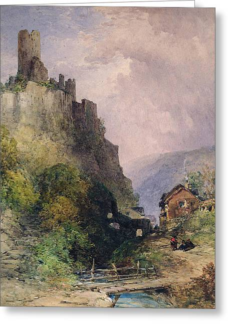 Castle On Mountain Greeting Cards -  The Castle of Katz on the Rhine Greeting Card by William Callow