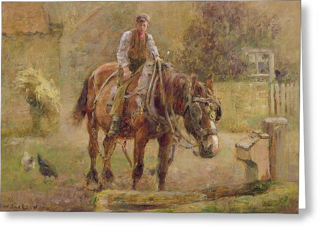 Trough Greeting Cards -  The Drinking Trough  Greeting Card by Frederick William Jackson