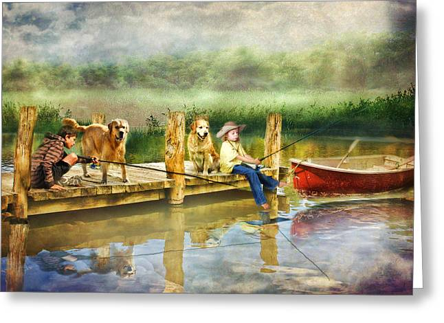 Stream Digital Art Greeting Cards -  The Fishing Spot Greeting Card by Trudi Simmonds