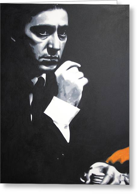 1955 Paintings Greeting Cards - - The Godfather - Greeting Card by Luis Ludzska