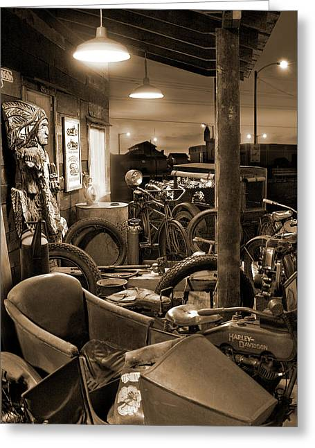 Sidecar Greeting Cards -  The Motorcycle Shop Greeting Card by Mike McGlothlen