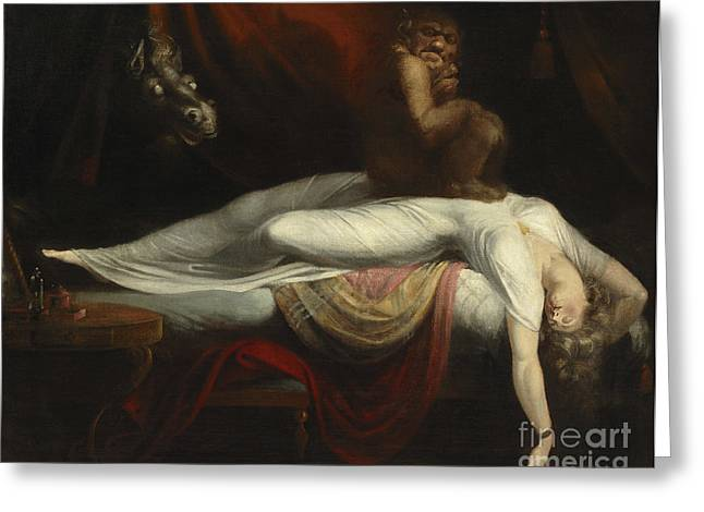Afterlife Greeting Cards -  The Nightmare Greeting Card by Henry Fuseli