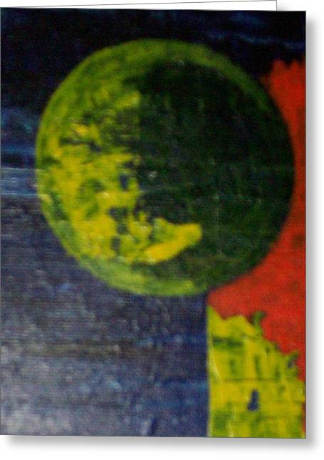 Pallet Knife Greeting Cards -  The Orbiting Planet Greeting Card by Roy Penny