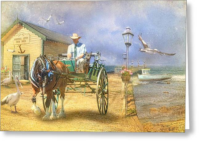 Horse And Cart Greeting Cards -  The Pelican Pantry Greeting Card by Trudi Simmonds