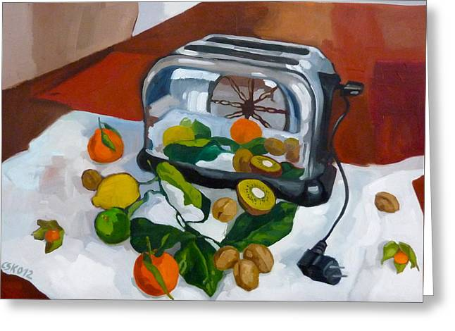 Toaster Paintings Greeting Cards -  The Toaster Greeting Card by Carmen Stanescu Kutzelnig