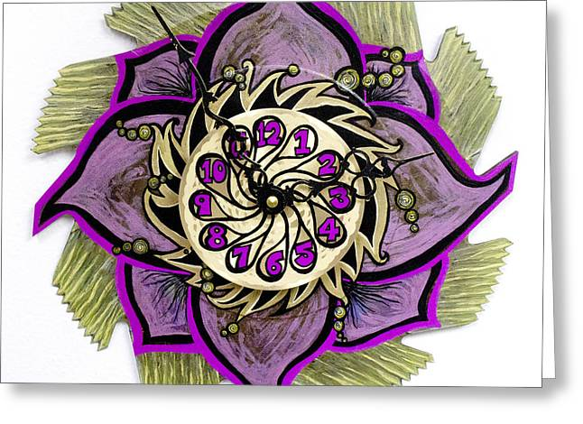 Saw Mixed Media Greeting Cards -  The Tuladromeda Clock Blossom Greeting Card by Jessica Sornson