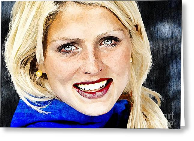 Skiing Posters Digital Art Greeting Cards -  Therese Johaug Portrait A Greeting Card by Andre Drauflos