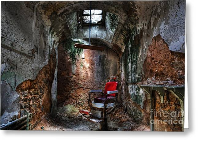 Prick Greeting Cards -  Time for a Cut- Barber Chair - Eastern State Penitentiary Greeting Card by Lee Dos Santos
