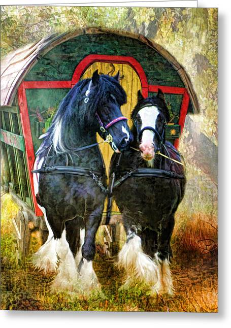 Gypsy Cob Greeting Cards -  Travellers Greeting Card by Trudi Simmonds