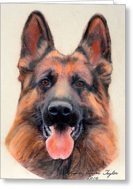 Police Pastels Greeting Cards -  Tribute to the German Shepherd Greeting Card by Linda Diane Taylor