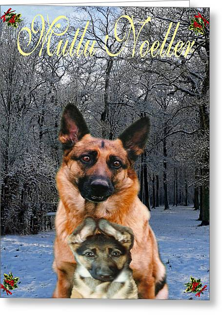 Europe Mixed Media Greeting Cards -  Turkish Holiday German Shepherd and puppy Greeting Card by Eric Kempson