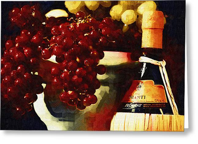 Italian Wine Greeting Cards -  Tuscan Grapes Greeting Card by Monte Arnold