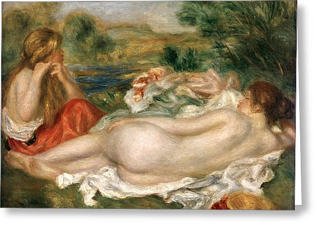 Baigneuses Greeting Cards -  Two Bathers Greeting Card by Pierre Auguste Renoir