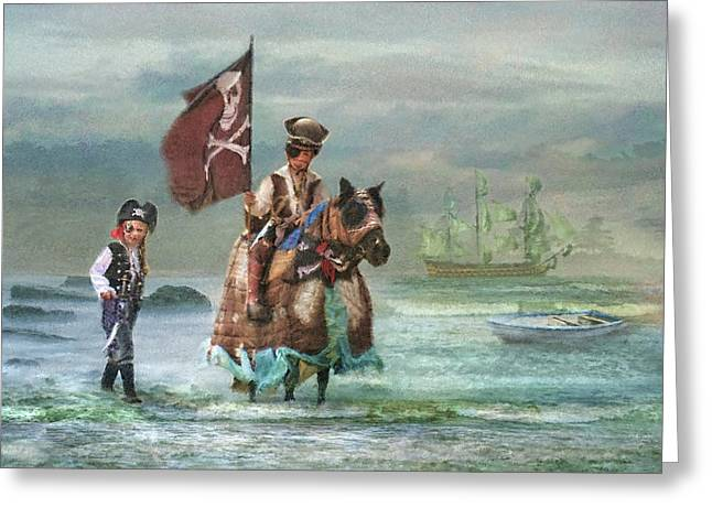 Pirate Ship Greeting Cards -  Two Pirates and Their Pony Greeting Card by Trudi Simmonds