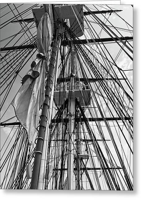 Pirate Ships Greeting Cards -  USS Constitution masts BW Greeting Card by Tim Mulina