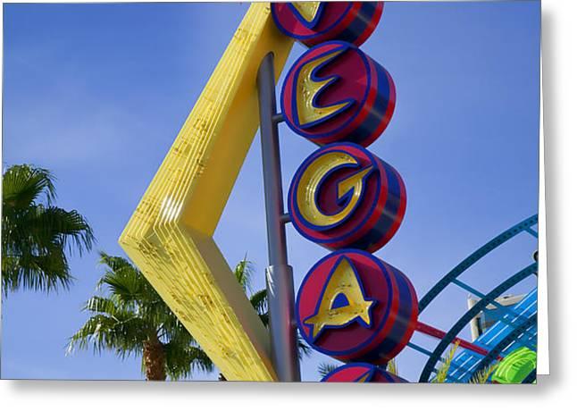 Vegas Sign Greeting Card by Garry Gay