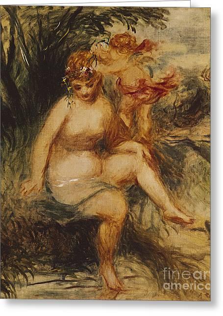 Renoir Greeting Cards -  Venus and Love Allegory Greeting Card by Pierre Auguste Renoir