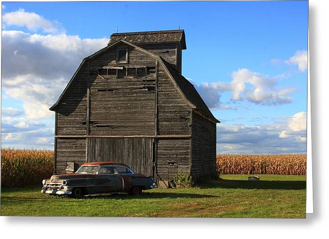 Vintage Cadillac And Barn Greeting Card by Lyle Hatch