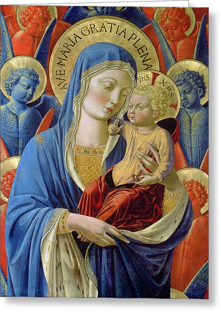 Virgin Paintings Greeting Cards -  Virgin and Child with Angels Greeting Card by Benozzo di Lese di Sandro Gozzoli