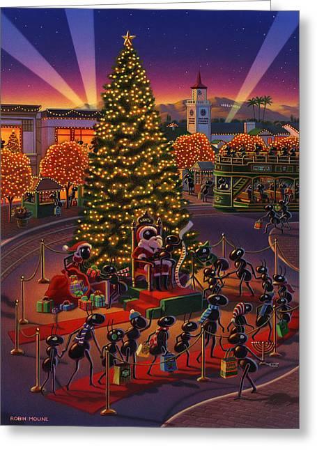 Farmers Markets Greeting Cards -  Visiting Santa Anta  Greeting Card by Robin Moline