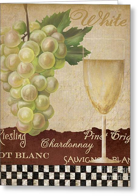 Vinos Paintings Greeting Cards -  White wine collage Greeting Card by Grace Pullen