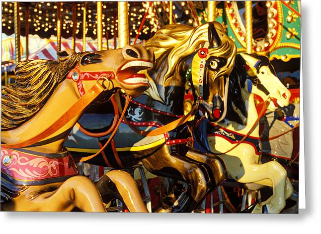 Pony Greeting Cards -  Wild carrousel horses  Greeting Card by Garry Gay