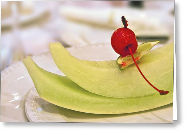 Cantaloupe Greeting Cards - ... With a Cherry on Top Greeting Card by Evelina Kremsdorf