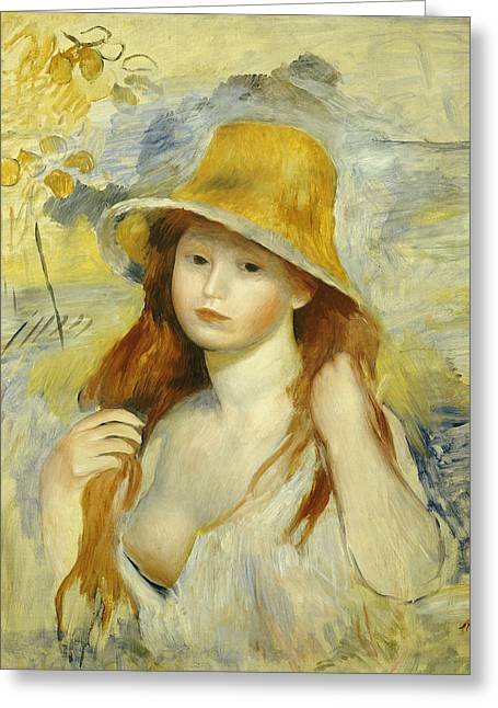 Blue Shirt Greeting Cards -  Young Girl with a Straw Hat Greeting Card by Pierre Auguste Renoir