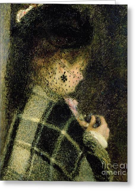 Black Veil Greeting Cards -  Young Woman with a Small Veil Greeting Card by Pierre Auguste Renoir