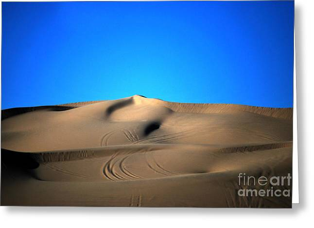 Heather Kirk Greeting Cards -  Yuma Dunes Number One Bright Blue and Tan Greeting Card by Heather Kirk