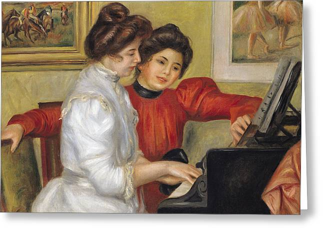 Renoir. Interior Paintings Greeting Cards -  Yvonne and Christine Lerolle at the piano Greeting Card by Pierre Auguste Renoir