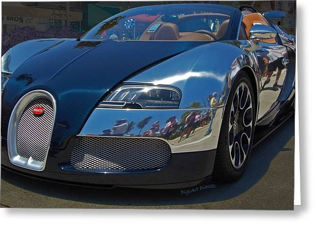Bugatti Greeting Cards - 0 To 60 In 2 Greeting Card by DigiArt Diaries by Vicky B Fuller