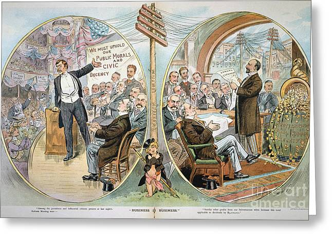 Reform Paintings Greeting Cards - Business Cartoon, 1904 Greeting Card by Granger