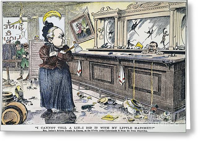 Bartender Greeting Cards - Carry Nation Cartoon, 1901 Greeting Card by Granger
