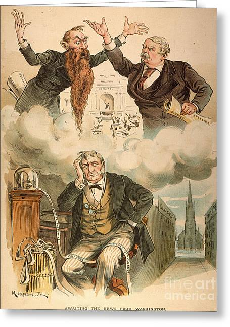 Political Acts Greeting Cards - Cartoon: Panic Of 1893 Greeting Card by Granger