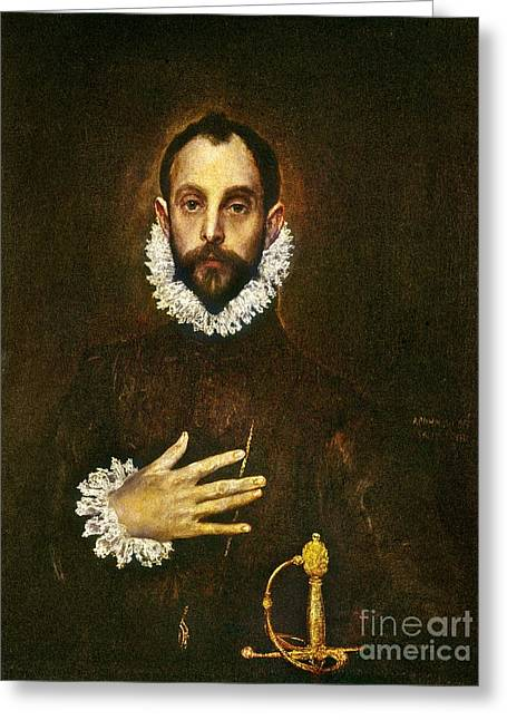1579 Greeting Cards - El Greco: Gentleman Greeting Card by Granger