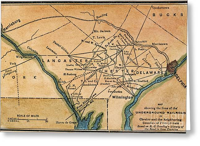 African-american Paintings Greeting Cards - Underground Railroad Map Greeting Card by Granger