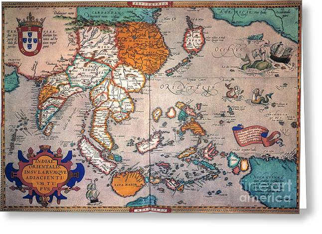 Ortelius Greeting Cards - Pacific Ocean/asia, 1595 Greeting Card by Granger