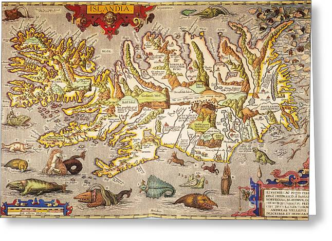 Atlas Paintings Greeting Cards - Iceland: Map, 1595 Greeting Card by Granger