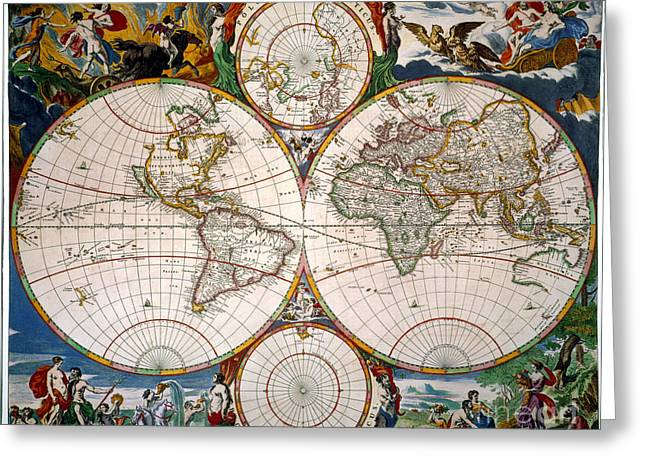 Jansson Greeting Cards - World Map, 17th Century Greeting Card by Granger