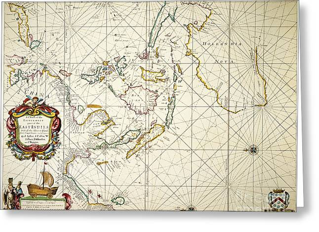 Indy Indians Greeting Cards - Map: East Indies, 1670 Greeting Card by Granger