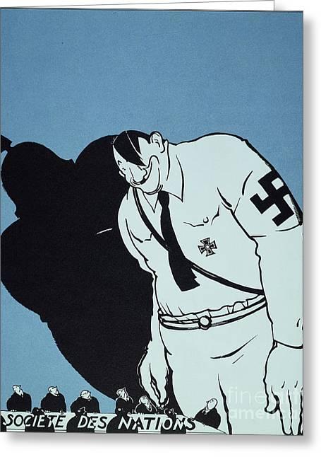 Armband Greeting Cards - Adolf Hitler Cartoon, 1935 Greeting Card by Granger