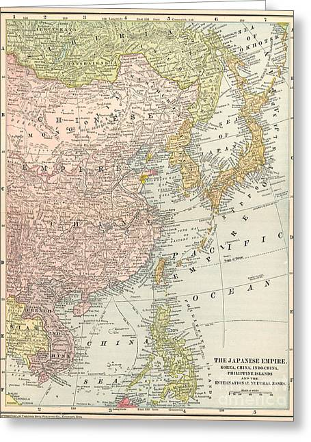 1907 Greeting Cards - Map: East Asia, 1907 Greeting Card by Granger