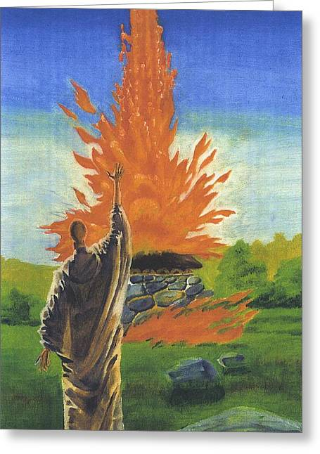 King James Paintings Greeting Cards - 013 Elijs Fire On Mount Carmel Featured Greeting Card by James Robinson