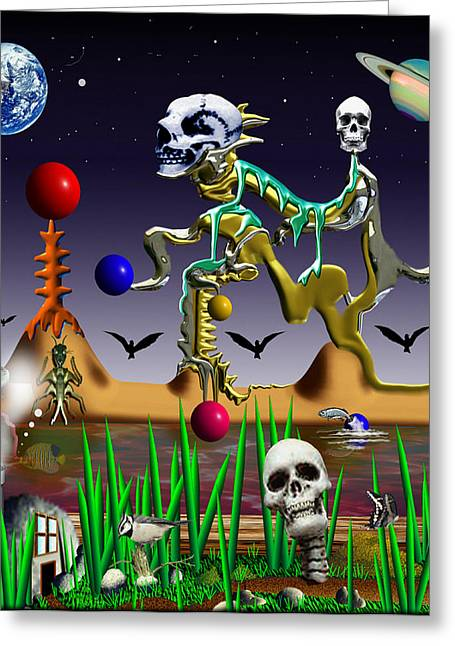 Etc. Digital Art Greeting Cards - 01904011col Greeting Card by Michael Yacono